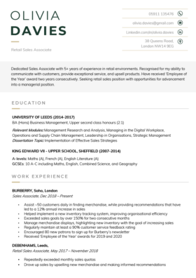 The Austere CV Template in green
