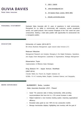 The Berkshire CV Template in green