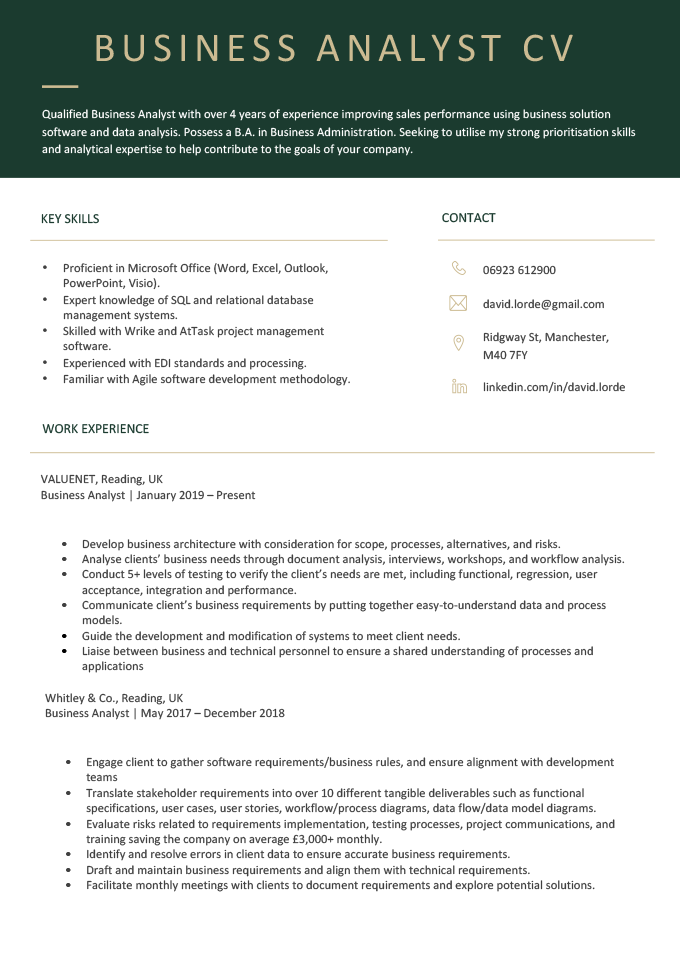 An example of a business analyst CV