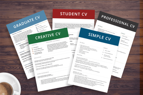 An image showing a sampling of some of the most common CV examples