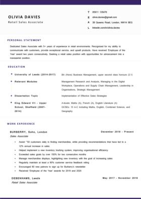 The Cambridge CV Template in purple