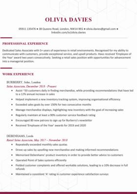 The Chelsea CV Template in burgundy