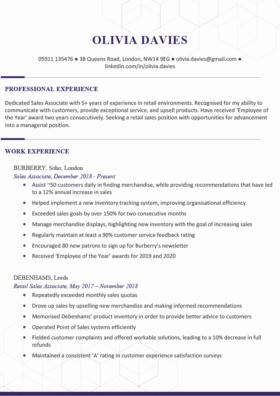 The Chelsea CV Template in purple