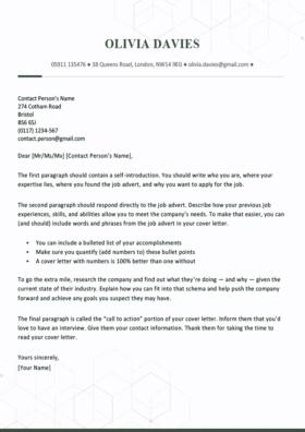 Cover Letter Template for UK: Chelsea, Green