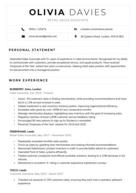 Contemporary CV Template in black