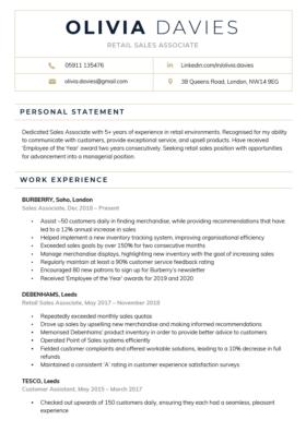 Contemporary CV Template in dark blue