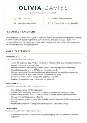 Contemporary CV Template in green