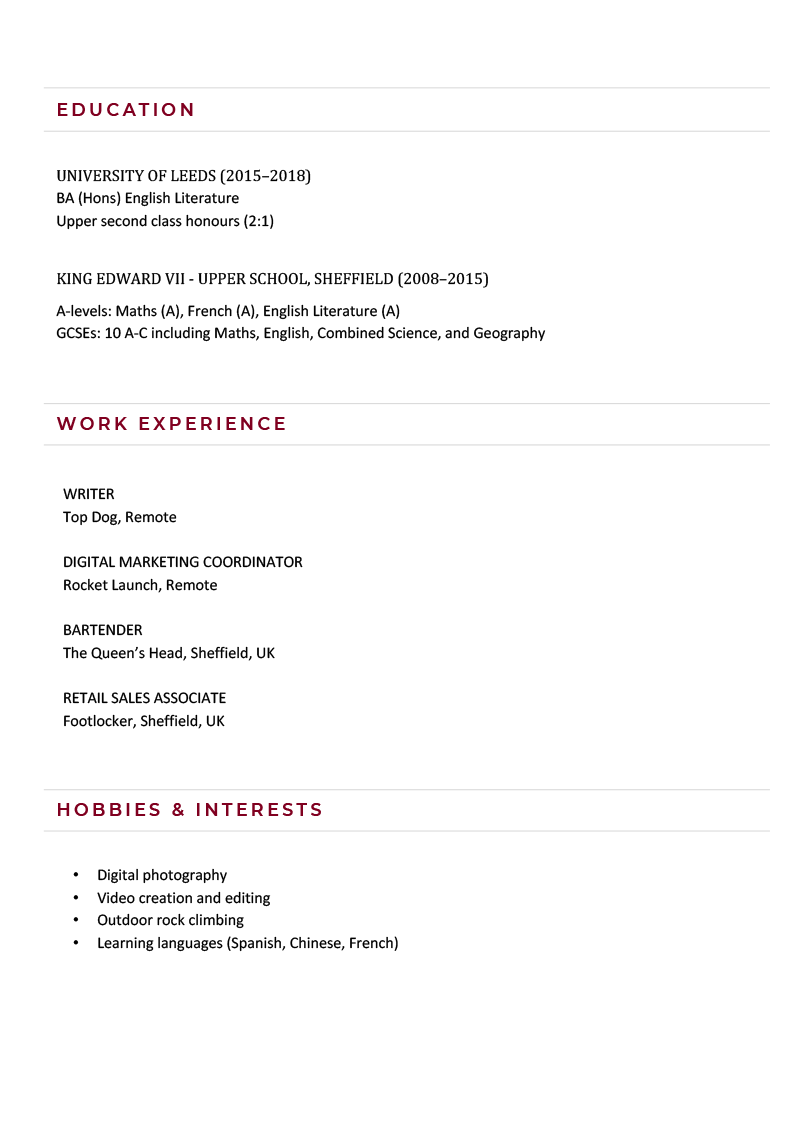 The second page of a content writer skills based CV example using a contemporary CV template in burgundy