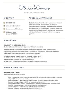 The Creative CV Template in dark blue