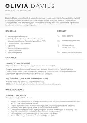 "The ""Dynamic"" CV Template in black"