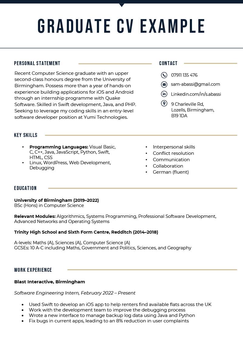 An example of a Graduate CV