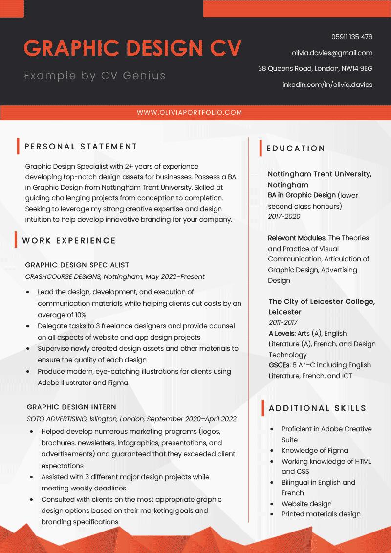An example of a graphic designer CV