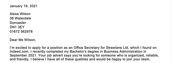 A cover letter example of how fill in your address and the contact person's information
