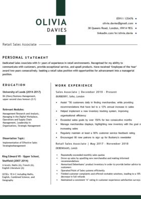 The Metropolitan CV Template in green