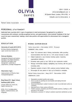 The Metropolitan CV Template in purple