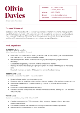 The Refined CV Template in burgundy