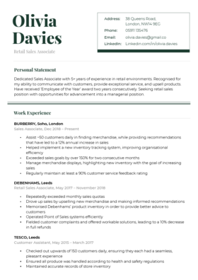 The Refined CV Template in green
