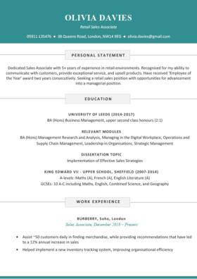 The Soho CV Template in blue