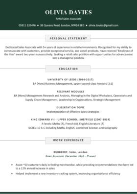 The Soho CV Template in green
