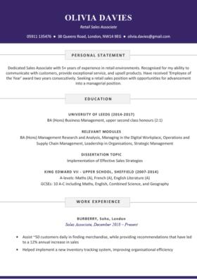 The Soho CV Template in purple