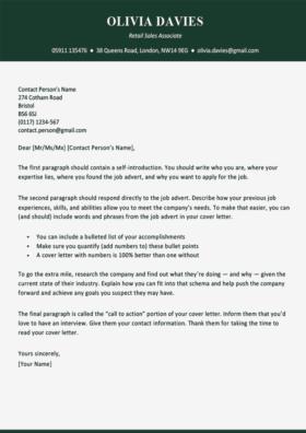 Cover Letter Template for UK: Soho, Green