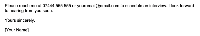 A screenshot that shows how to space a cover letter sign-off.