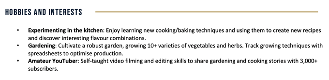 A screenshot of a hobbies and interests CV section.