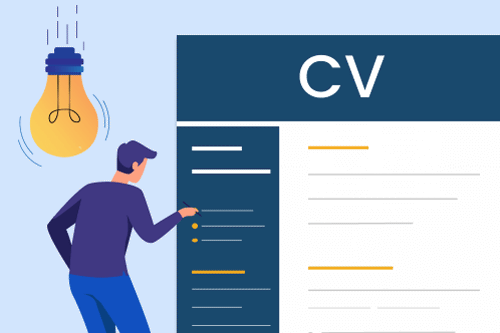 A cartoon of a man with a lightbulb over his head pointing at a CV to illustrate CV writing tips