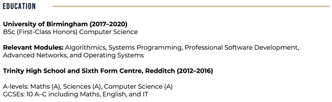 An example of a CV education section