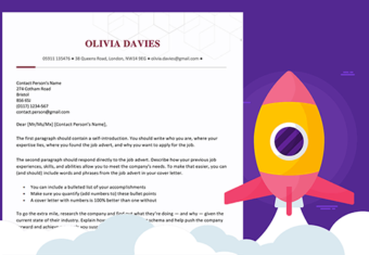 How to start a cover letter featured image with a sample cover letter and a cartoon rocket