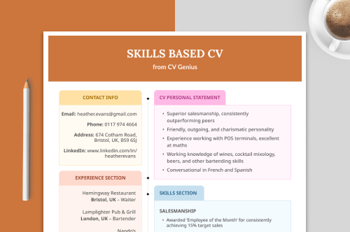 skills based CV with four CV sections displayed as a featured image