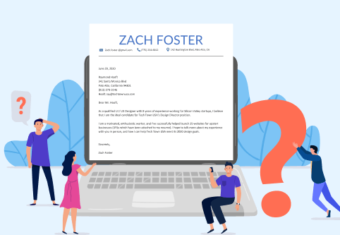 What to include in a cover letter featured image with a sample cover letter on a laptop screen